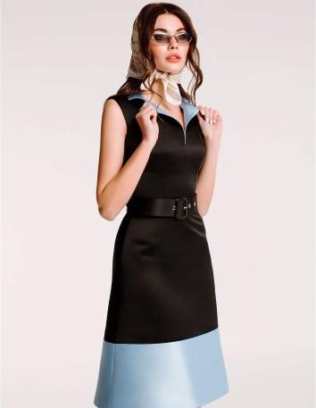 Vestido midi bicolor con cinturón de Ariamo