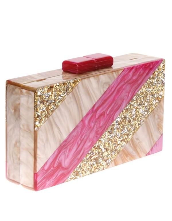 Fuchsia, gold and beige tricolour clutch bag Lauren Lynn London Accessories - 1