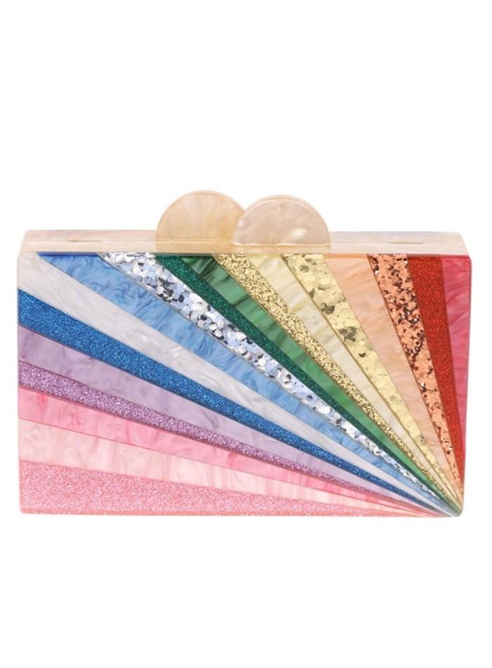 Bolso de fiesta nacarado arcoíris Lauren Lynn London Accessories - 1