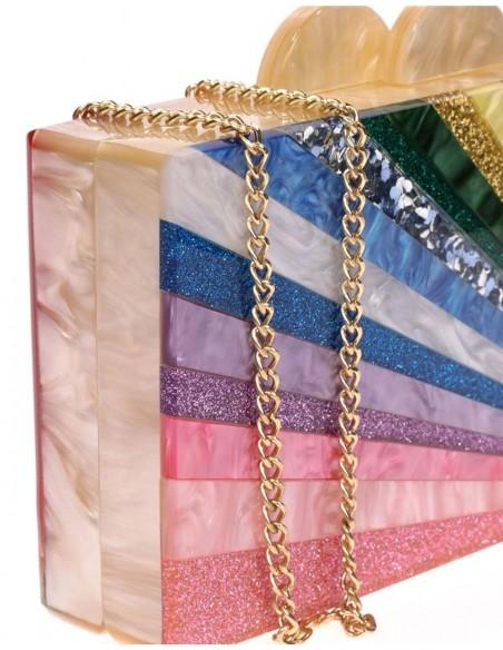Bolso de fiesta nacarado arcoíris Lauren Lynn London Accessories - 3