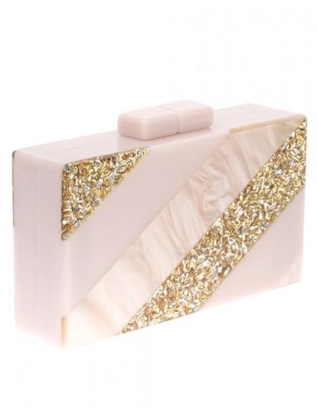 Bolso de fiesta nacarado efecto perla y dorado Lauren Lynn London Accessories - 2