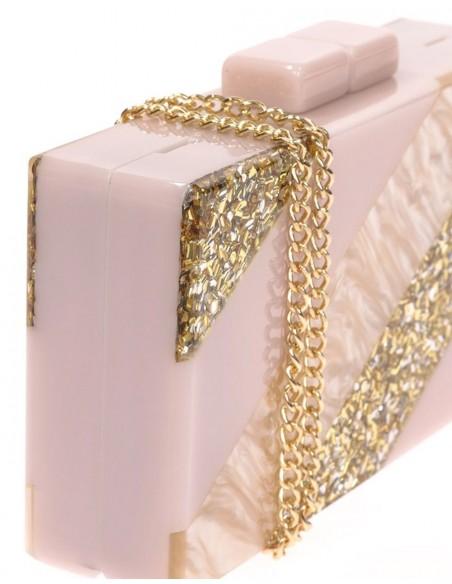 Bolso de fiesta nacarado efecto perla y dorado Lauren Lynn London Accessories - 3