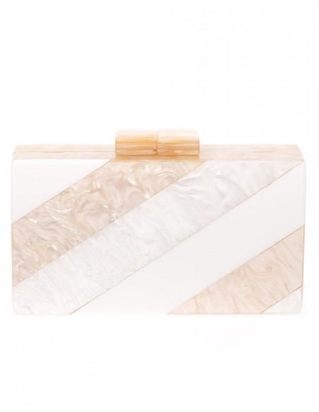 Bolso de fiesta nacarado efecto perla, beige y blanco Lauren Lynn London Accessories - 2