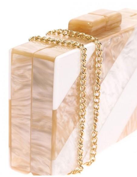 Bolso de fiesta nacarado efecto perla, beige y blanco Lauren Lynn London Accessories - 3