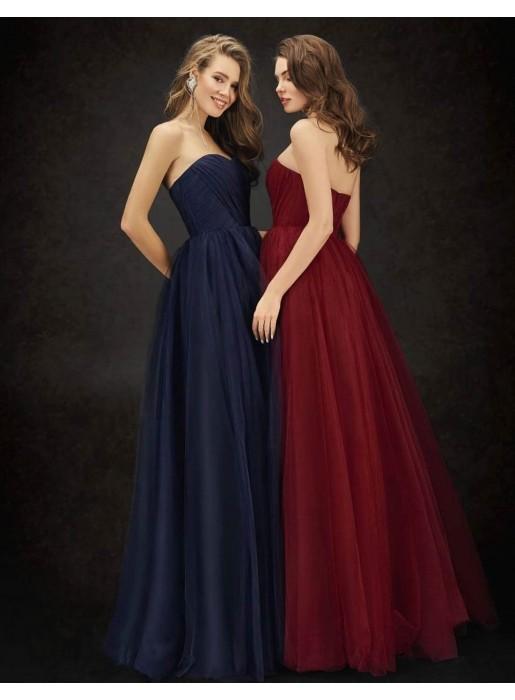 Vestido de fiesta largo plisado con escote palabra de honor Ariamo Fashion Group - 1