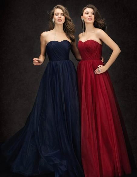 Vestido de fiesta largo plisado con escote palabra de honor Ariamo Fashion Group - 2