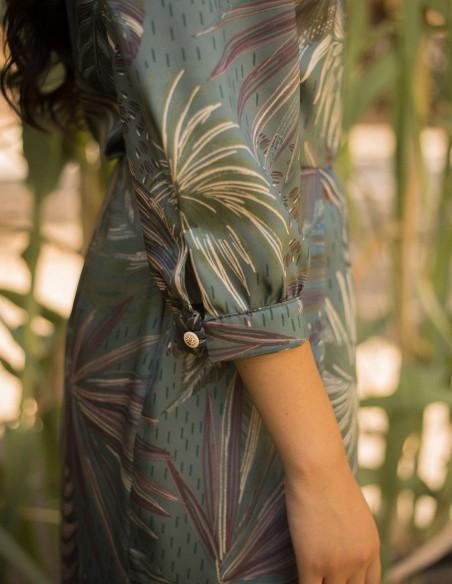 Vestido de fiesta midi con escote smoking para mujer invitada