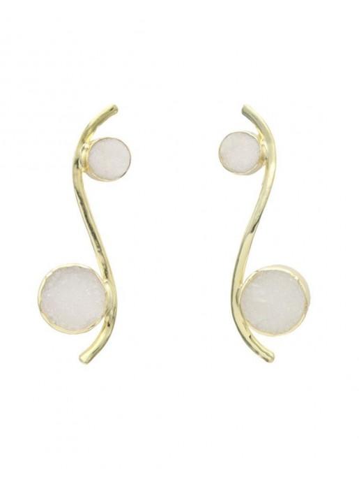 Pendientes con forma de línea curva y piedras naturales circulares blancas