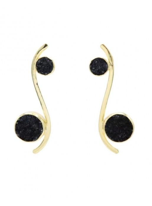 Pendientes con forma de línea curva y piedras naturales circulares negras