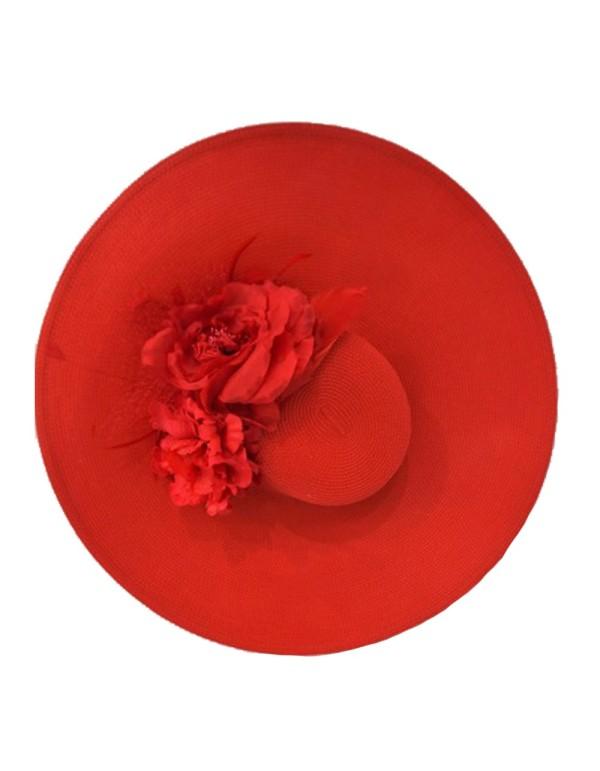 Pamela roja con flores rojas