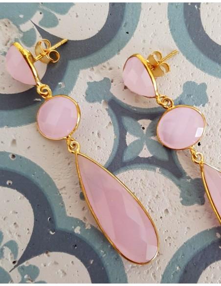 pendientes de piedras semipreciosas rosas