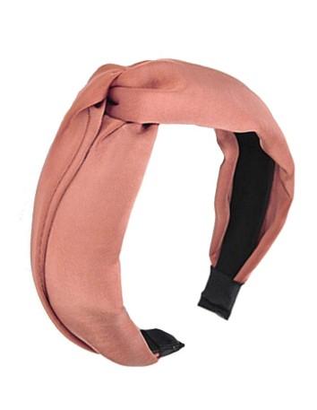 Pale pink satin knotted headband