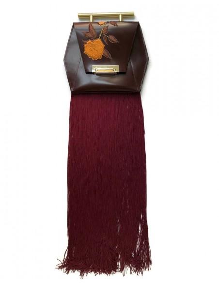 Bolso de mano con flecos y bordado de rosa inglesa de Angela Valentine