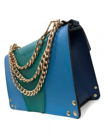 Bolso Gavi en tres tonos de azul con detalles de abejitas metálicas Angela Valentine Handbags - 2