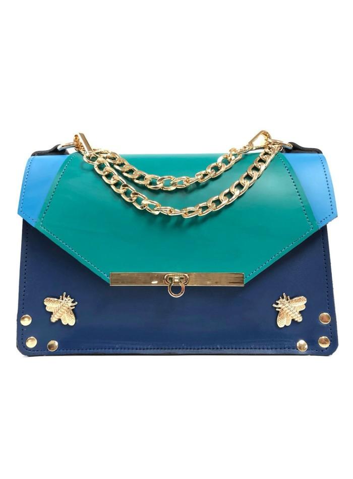 boldo en tres colores: azul eléctrico, azul celeste y azul verdoso de Angela Valentine
