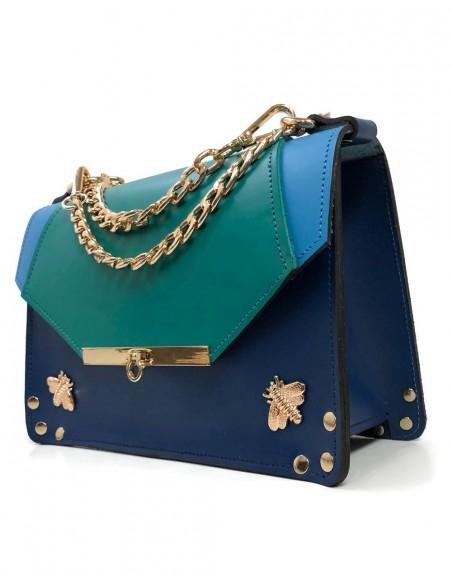 Bolso Gavi en tres tonos de azul con detalles de abejitas metálicas Angela Valentine Handbags - 3
