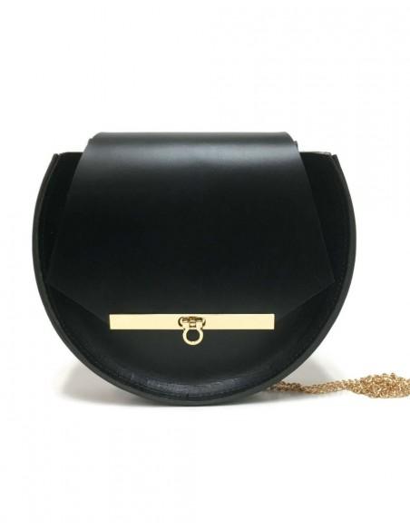 Bolso de piel negro con detalles de abejas y cadena larga de Angela Valentine.