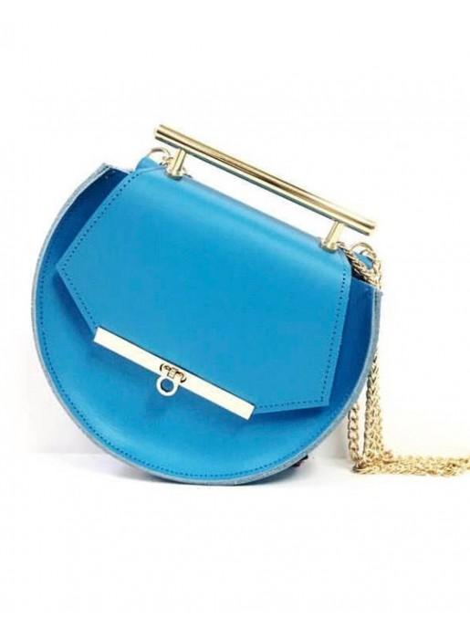 f5003ce2b Bolso de piel azul con cadenas y detalles de abejas - INVITADISIMA