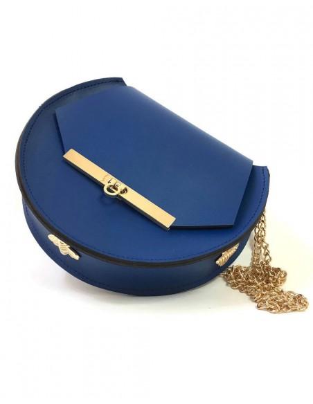 Bolso de piel azul oscuro con detalles de abejas y cadena larga de Angela Valentine.