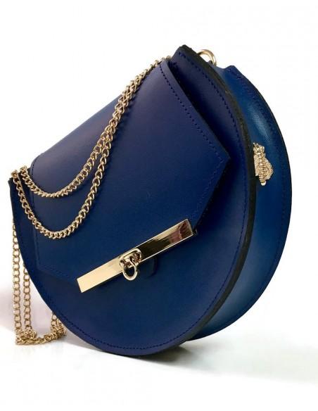 Bolso de piel azul oscuro con detalles de abejas y cadena larga de Angela Valentine. detalle del lateral