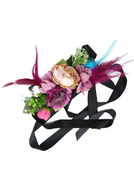 Cinturón de flores y plumas en tonos lilas y morados Elenitos - 1