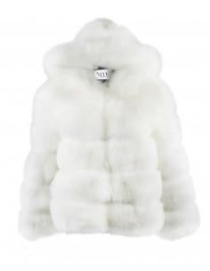 chaqueta con capucha blanca para invitadas a bodas y fiestas