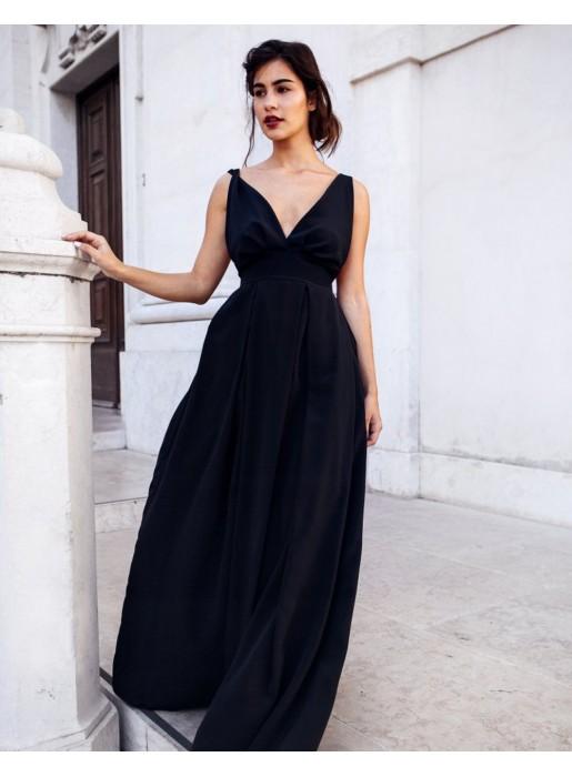 vestido largo negro con espalda descubierta de maui official