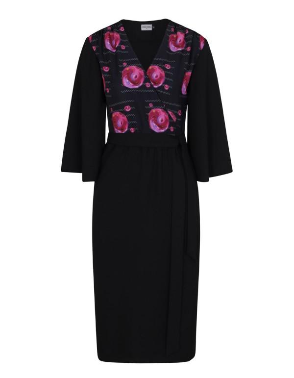 vestido midi negro con estampado de flores de Coco Veve