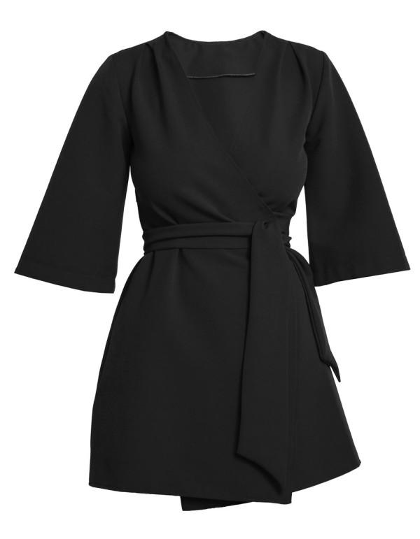 vestido kimono negro para invitadas a fiestas