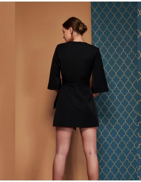kimono vestido negro con mangas 3/4 de Coco Veve