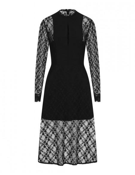 vestido midi negro de encaje con mangas largas para invitadas