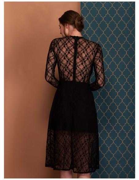 vestido Amelie negro con encaje y falda en linea A de Coco Veve
