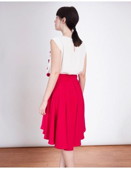 Falda asimétrica para invitadas a bodas, bautizos y comuniones de color Fucsia de Lauren Lynn London