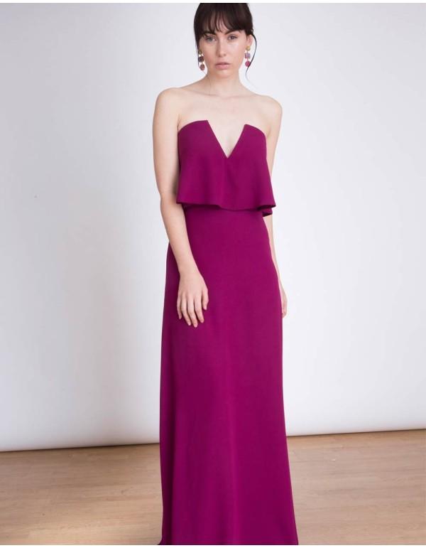 Vestido de fiesta palabra de honor con escote en V Lauren Lynn London buganvilla - INVITADISIMA