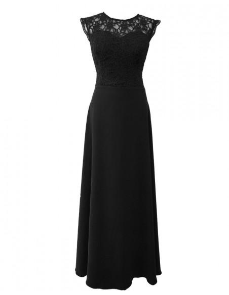 Vestido de fiesta largo con cuerpo de encaje Emma Negro Lauren Lynn London - 3