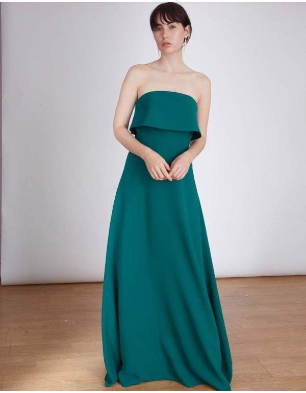Vestido de fiesta largo con escote palabra de honor para bodas de tarde y eventos INVITADISIMA