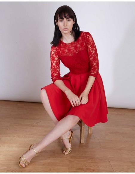 Vestido de invitada a bodas y eventos en color rojo INVITADISIMA