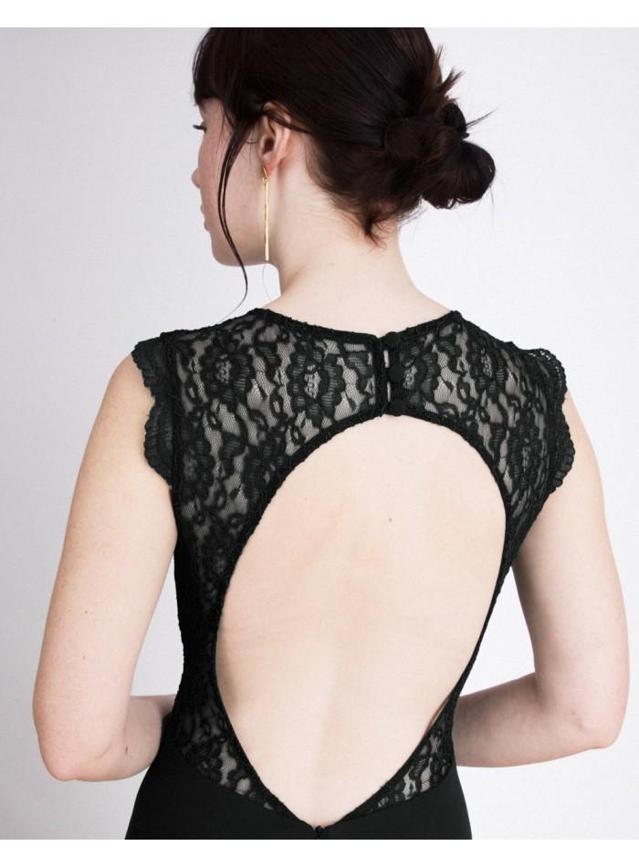 Vestido de fiesta largo con cuerpo de encaje Emma Negro Lauren Lynn London - 2