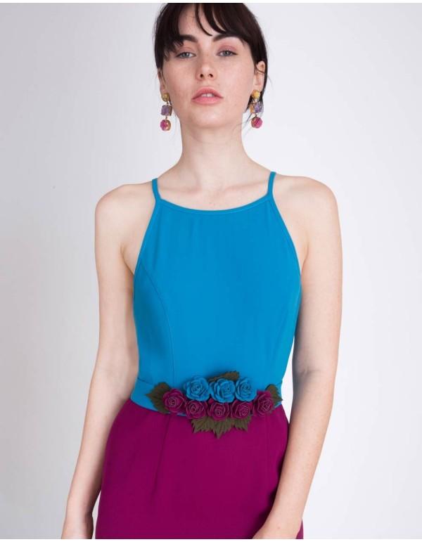 Vestido de fiesta corto color block con cinturon de flores de Lauren Lynn London  - INVITADISIMA