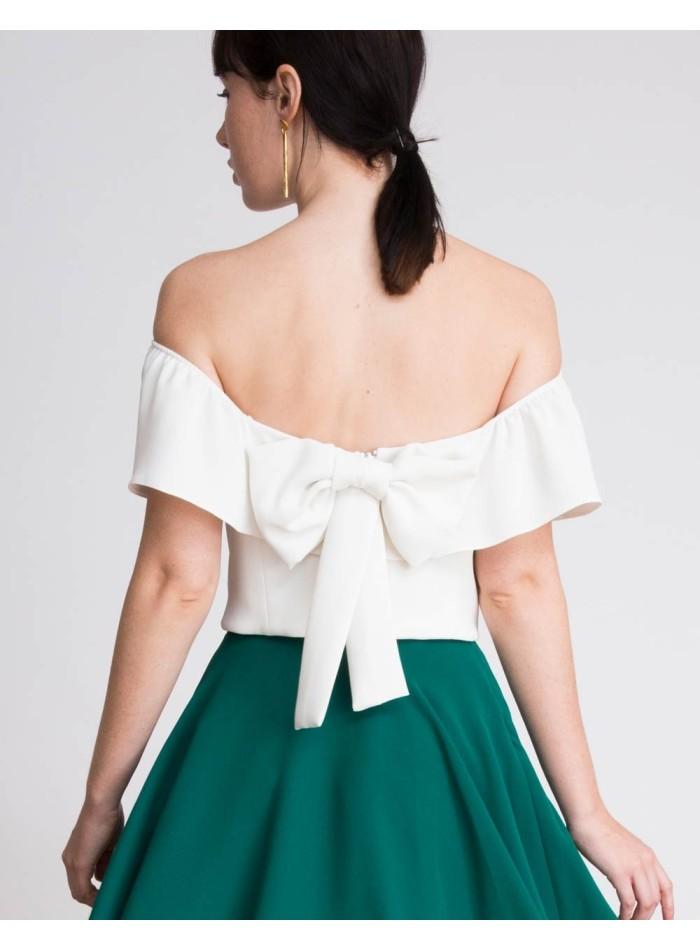 Louisa white party top with bandeau neckline - Lauren Lynn London - 4