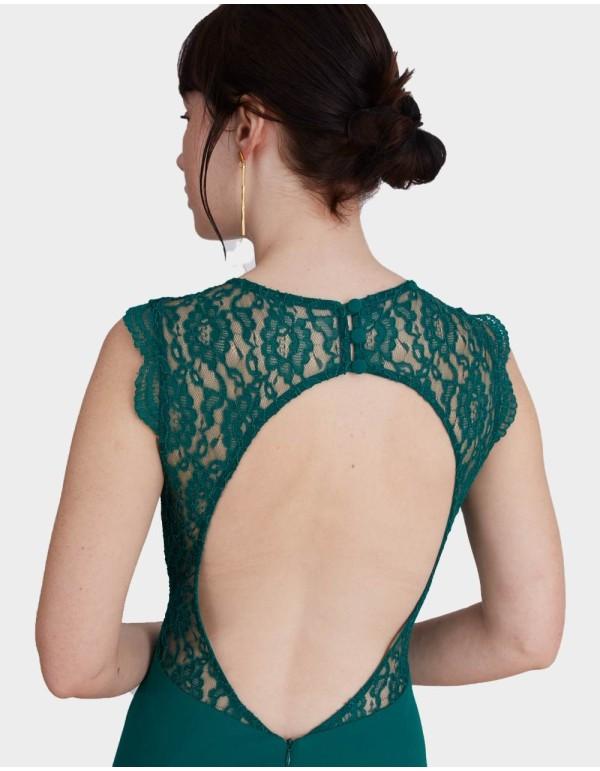 Vestido de fiesta largo con la espalda abierta de encaje y escote corazón de Lauren Lynn London para INVITADISIMA