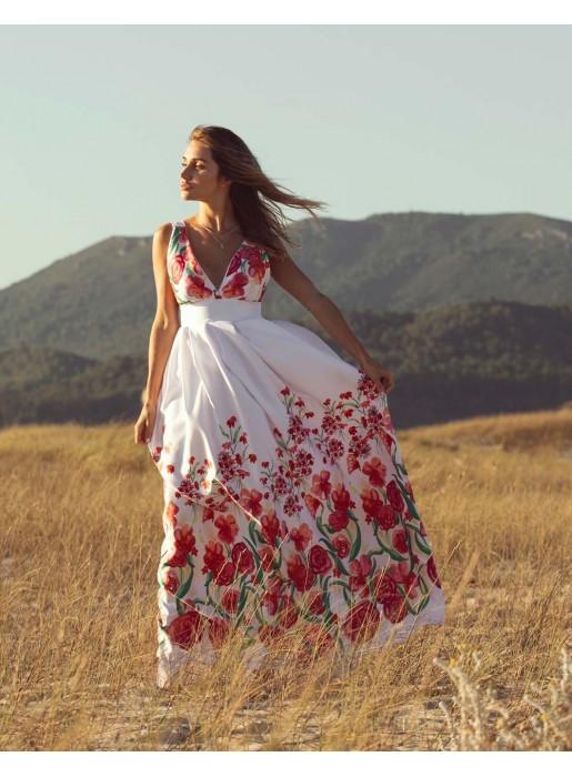 vestido largo con tirante de estampado de flores de maui official