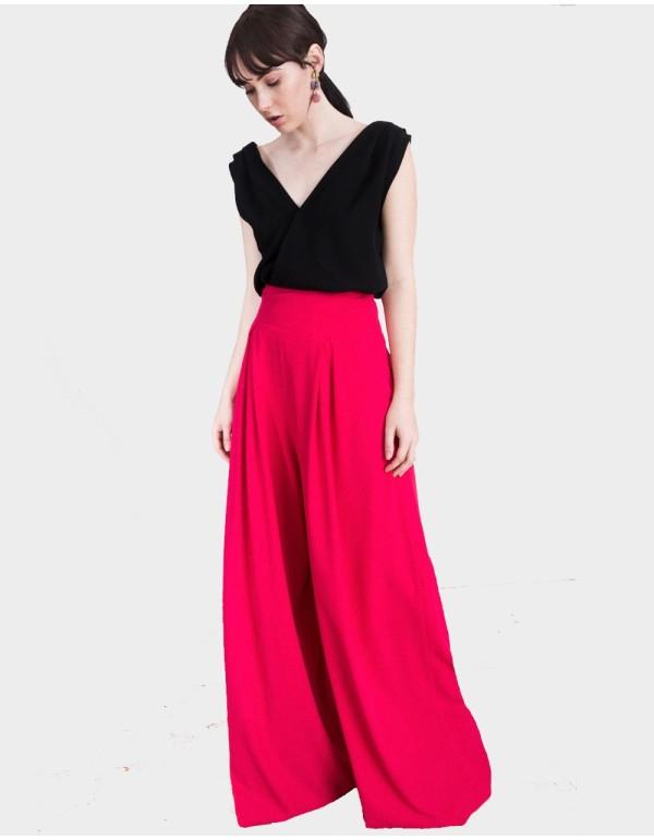 Pantalones Palazzo Millie en tono rosa Fucsia diseñados por Lauren Lynn London.