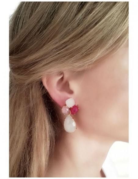 Long earrings with white stones - Cassandra