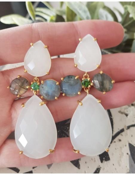 pendientes con piedras blancas para invitadas de Welowe
