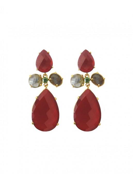 Long earrings with red quartz stones - Crete Welowe - 1