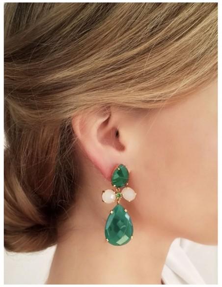 Long earrings with green quartz stones - Crete