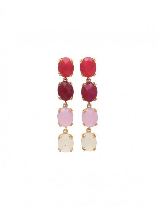 Pendientes largos con piedras de en tonos rosas - Liz Welowe - 1