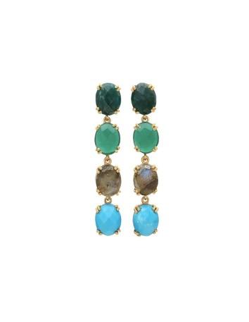 Long earrings with green and blue stones - Liz Welowe - 1