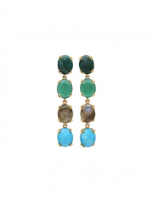 3a399c79fa30 pendientes largos para invitadas en tonos verdes y azules de Welowe